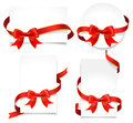 Gift cards with red bows set of ribbons on a white background Royalty Free Stock Photos