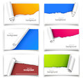 Gift cards set of with torn corners Stock Images