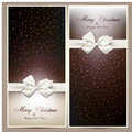 Gift cards with white bow ribbon over brown and beige paper vector illustration Royalty Free Stock Image