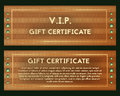 A gift certificate with precious jade. Vector voucher green stones. Brown greeting card with gold decoration.