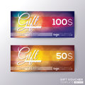 Gift certificate voucher coupon card template Royalty Free Stock Photo
