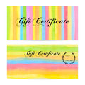 Gift certificate, Voucher, Coupon, money bonus, card template with colorful stripy (stripes, line pattern) background Royalty Free Stock Photo
