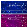 Gift certificate, Voucher, Coupon, Reward or Gift card template with sparkling, twinkling stars texture (pattern). Blue night sky Royalty Free Stock Photo