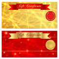 Gift certificate, Voucher, Coupon, Reward or Gift card template with sparkling, twinkling stars texture, red ribbon (banner) Royalty Free Stock Photo