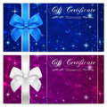 Gift certificate, Voucher, Coupon, Reward or Gift card template with sparkling, twinkling stars texture, ribbon. Dark night sky Royalty Free Stock Photo