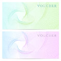 Gift certificate voucher coupon template color with colorful rainbow guilloche pattern watermark background for banknote money Royalty Free Stock Photography