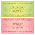 Gift certificate voucher coupon template layout with floral pattern watermark border background for invitation banknote cheque Royalty Free Stock Photography