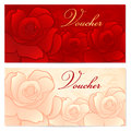 Gift certificate voucher coupon template rose f with floral pattern red background for invitation money design currency note check Royalty Free Stock Photo
