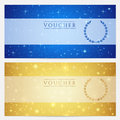 Gift certificate voucher coupon template stars with sparkling twinkling night sky background design for invitation banner ticket Royalty Free Stock Photos