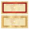 Gift certificate voucher template with borders coupon ticket guilloche pattern watermark gold floral border red frame vector Royalty Free Stock Photography