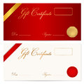 Gift certificate voucher template wax seal coupon with ribbon background design for invitation banknote diploma money design Royalty Free Stock Image
