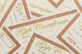 Gift certificates pile messy of blank background Stock Photography