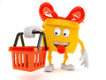 Gift character holding shopping basket