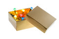 Gift christmas light in a box isolate on whitebackground Royalty Free Stock Photo