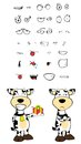 Gift cow cartoon expressions set in vector format very easy to edit Royalty Free Stock Images