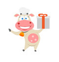 Gift cow illustration of chef on white background Royalty Free Stock Photos