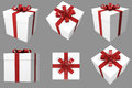 Gift d christmas white box with red satin ribbon multiple angles views Royalty Free Stock Photos