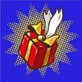 Gift floating, holidays present pop art vector