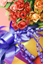 Gift with flowers Royalty Free Stock Photography