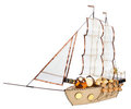 Gift in form layout sailing ship Royalty Free Stock Photo