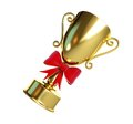 Gift gold trophy cup d illustrations white background Stock Photo