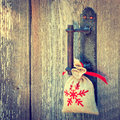 Gift on the handle of door a hangs Stock Photography