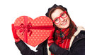 Gift with heart shape Stock Images