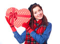 Gift with heart shape Royalty Free Stock Image