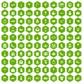100 gift icons hexagon green