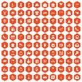 100 gift icons hexagon orange