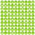 100 gift icons set green circle
