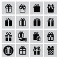 Gift icons vector black icon set on gray Stock Photo