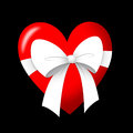 Gift of love heart with white ribbon Royalty Free Stock Photos