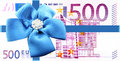 Gift of money with a blue ribbon Stock Image