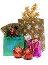 Gift and new year's embellishment Royalty Free Stock Images