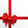 Gift paper red bow and ribbon on white background Royalty Free Stock Image