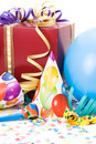 Gift, party hats, horns or whistles, confettis Stock Photography