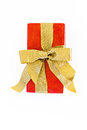 Gift red box with gold ribbon and bow isolated Royalty Free Stock Photo