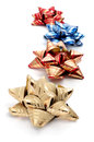 Gift ribbon bows some of different colors on a white background Royalty Free Stock Photos