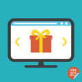 Gift on screen flat icon. Illustration for website or mobile application.