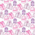 Gift seamless pattern seamless happy birthday or valentine pattern texture with pink gift box boxes Stock Photo