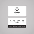 Gift shop and souvenirs business card design concept. Gift shop logo with Japanese cat. Vintage, hipster and retro style. Royalty Free Stock Photo