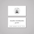 Gift shop and souvenirs business card design concept. Gift shop logo with snow globe with house. Vintage, hipster and retro style. Royalty Free Stock Photo