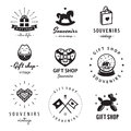 Gift shop and souvenirs logo vintage vector set. Hipster and retro style.