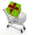 Gift in shopping cart Stock Images