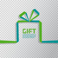 Gift in the style of origami ribbon on transparent background, v