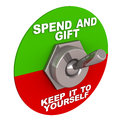 Gift switch turned on towards spending and gifting away from keeping it to yourself celebrating the spirit of gifting season and Stock Image