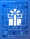 Gift symbol like blueprint drawing stylized drafting of sign on paper qualitative vector eps illustration for holiday packaging Stock Photo