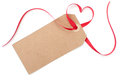 Gift tag with heart bow Royalty Free Stock Photo