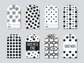 Gift tags and cards set with hand drawn elements. Collection of handmade label paper in black and white. Hand crafted Royalty Free Stock Photo